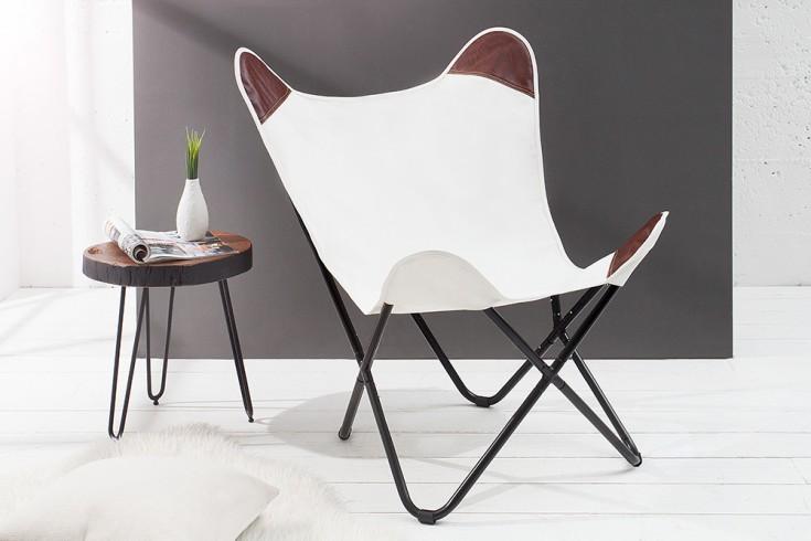 Designklassiker Lounge Sessel BUTTERFLY Natur aus hochwertigem  Canvas Leinenstoff