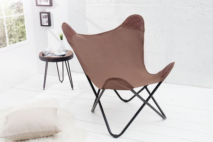 Designklassiker Lounge Sessel BUTTERFLY braun aus hochwertigem  Canvas Leinenstoff