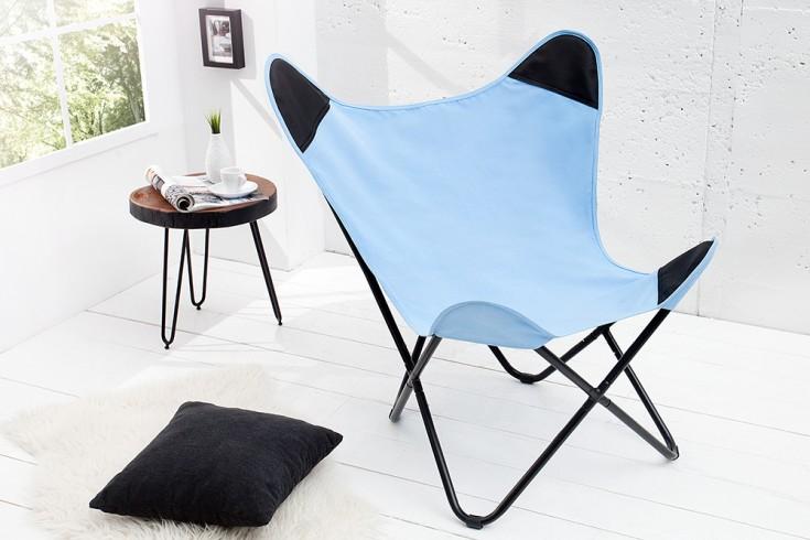 Retro Lounge Sessel BUTTERFLY blau mit Leinenbezug Eisengestell