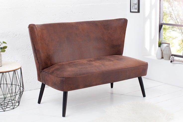 stylische retro bank sixties 115 cm sitzbank coffee 60er. Black Bedroom Furniture Sets. Home Design Ideas