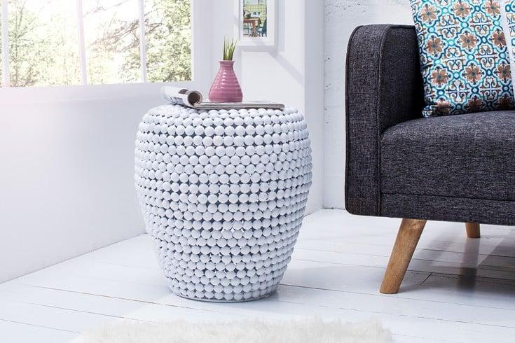Stilvoller Beistelltisch PEARLS 45cm weiß Ethno Hocker