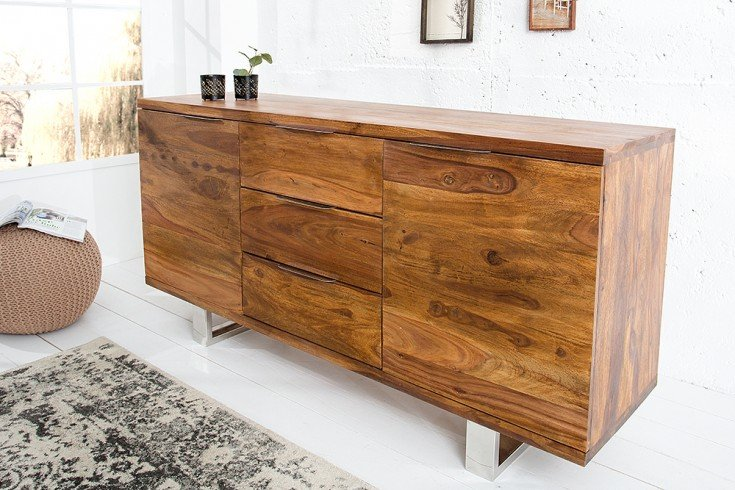 Massives Sideboard FIRE & EARTH 160cm Sheesham Stone Finish Palisander