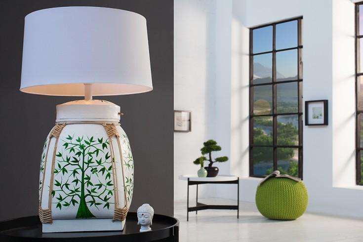 Design Tischleuchte YUNA handbemalt Stehleuchte mit weißem Lampenschirm Handarbeit