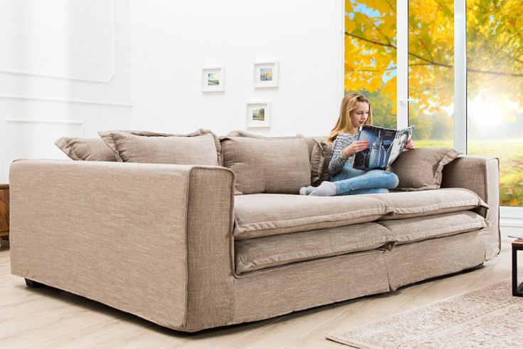 Sofa xxl primus xxl corner sofa with divan pillows light - Ecksofa alcantara ...