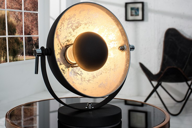 moderne tischlampe studio 40 cm schwarz silber lampe riess. Black Bedroom Furniture Sets. Home Design Ideas