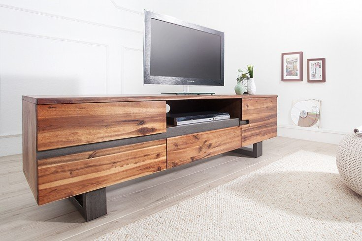 Massives Baumstamm TV Board GENESIS 160cm Akazie Massivholz Baumkante Lowboard mit Kufengestell Industrial Finish