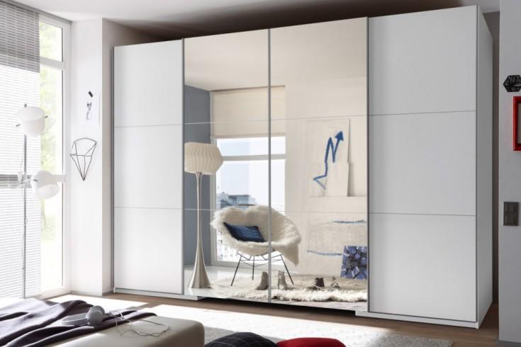 Exklusiver Schwebetüren Kleiderschrank PALAZZO 315 cm weiß mit Spiegel begehbar