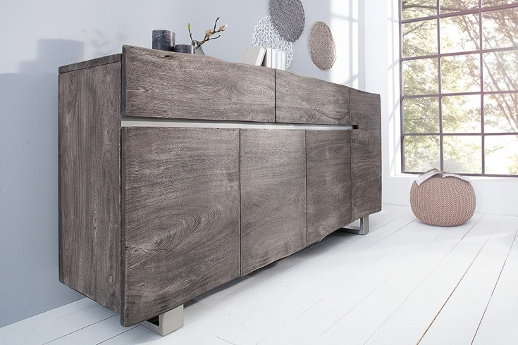 Massives Baumstamm Sideboard MAMMUT grau 170cm Akazie Massivholz Industrial Chic Kufengestell Edelstahl matt