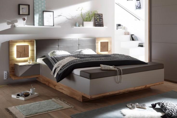 Design Doppelbett FOREST Charcoal Wildeiche 180 x 200cm inkl. 2 Nachtkommoden und Bettbank