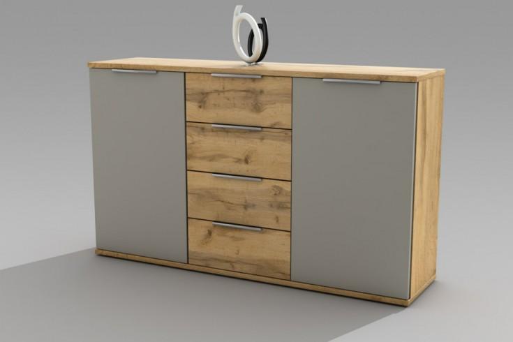 Design Kommode FOREST charcoal Wild Eiche 150cm Sideboard mit Schubladen