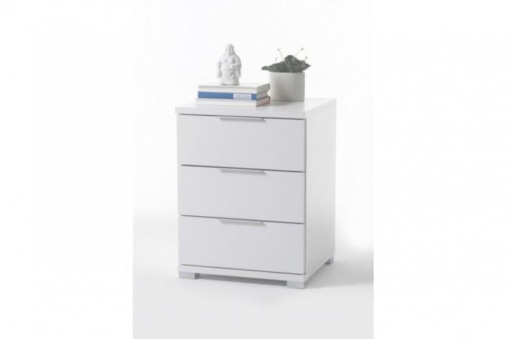 Exklusive Design Nachtkommode STRAIGHT 60 cm weiß Nachttisch mit Schubladen