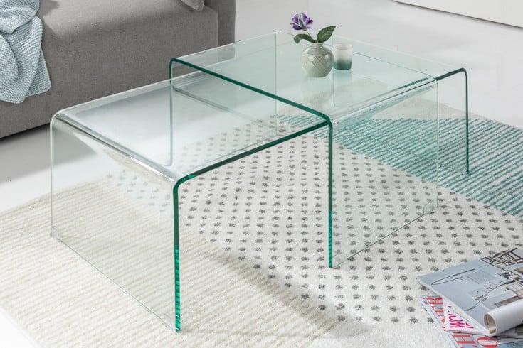 Hochwertiges 2er Set Glas Couchtisch FANTOME 100cm transparent