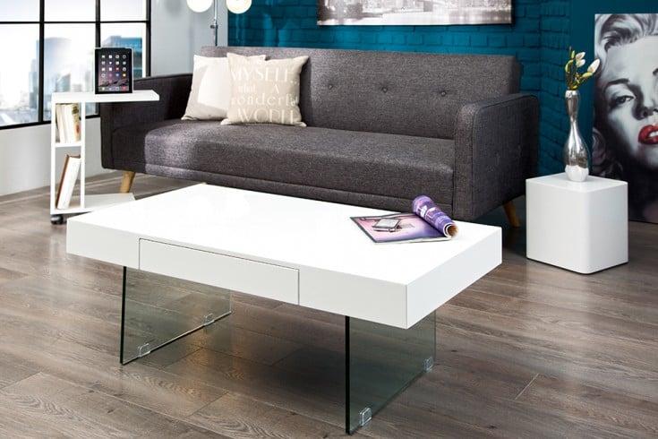 Moderner Design Couchtisch FLOATING 110cm weiß Hochglanz Glas Komposition inkl. Schubkasten