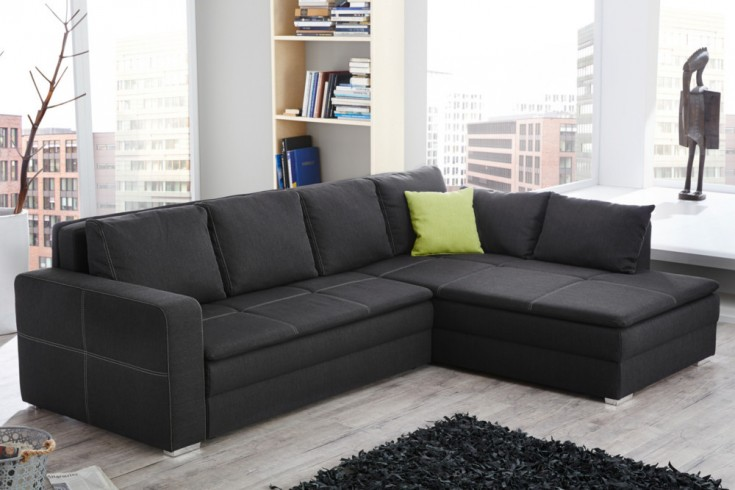 boxspring ecksofa central grau strukturstoff ot frei w hlbar mit schlafffunktion riess. Black Bedroom Furniture Sets. Home Design Ideas