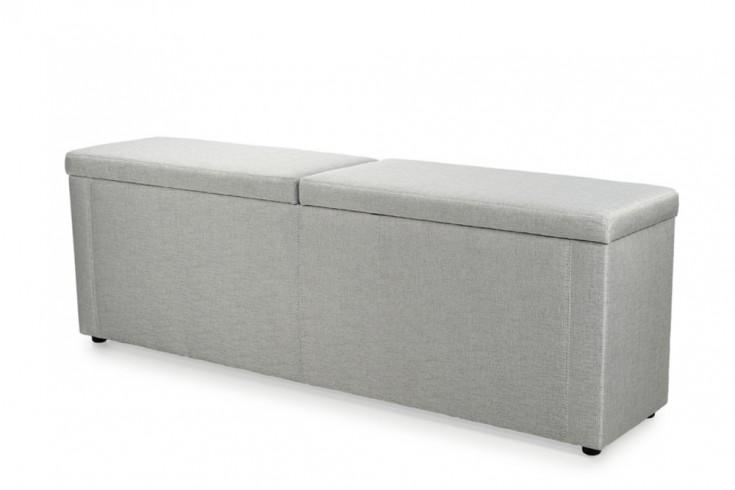 Design Hockerbank LYON grau beige für Boxspringbett Microfaser