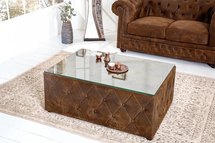 Design Chesterfield Couchtisch 100 cm braun im Antik Look mit Glasplatte