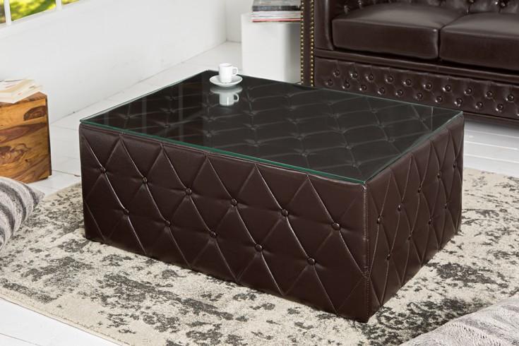 Design chesterfield couchtisch 100 cm dark coffee mit for Designer couchtisch glasplatte