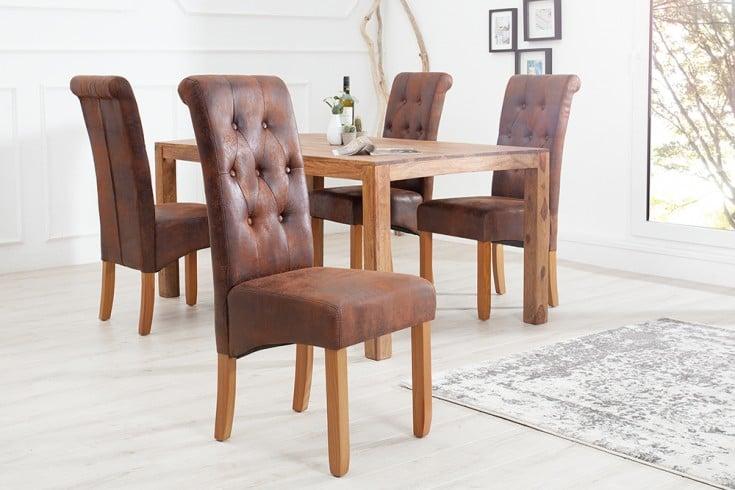 Edler Kolonial Stuhl VALENTINO mit Nackenrolle whisky-braun Vintage Look mit Zierknöpfen Massivholzbeine Sheesham finish