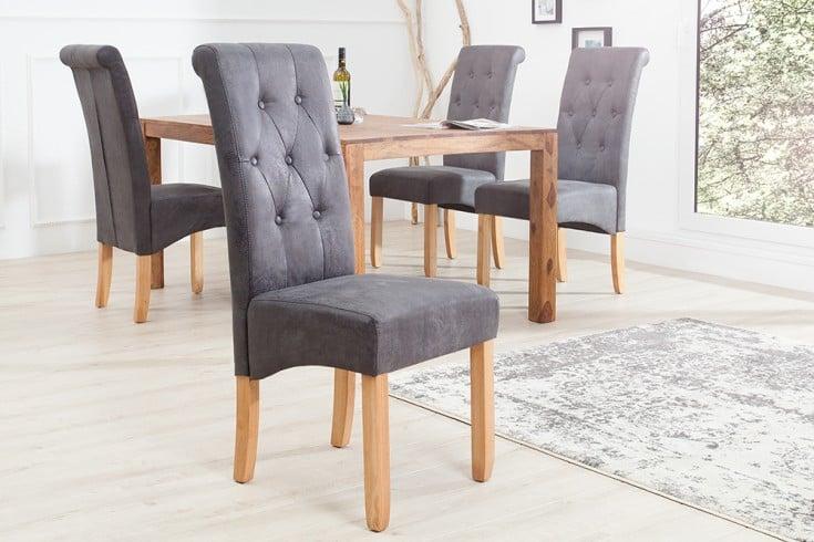 Edler Stuhl CASA vintage grau mit Zierknöpfen Massivholzbeine