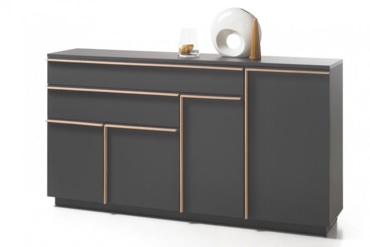 Modernes Design Sideboard MIKADO 180cm graphit edelmatt abgesetzte Griffleisten in Eiche Sonoma