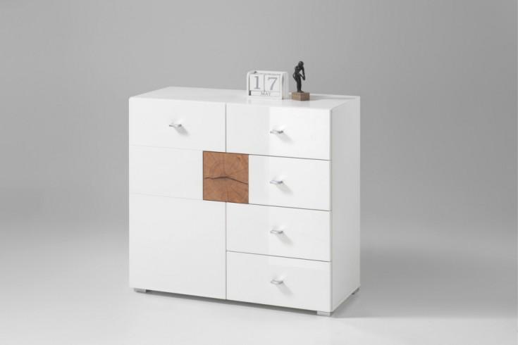 Moderne Design Kommode MODERN NATURE 90cm Hochglanz weiß Stirnholz Natur-Applikationen