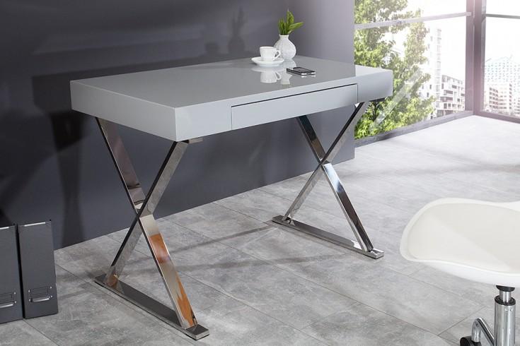 Design schreibtisch grace hochglanz grau mit schublade for Schreibtisch grau hochglanz