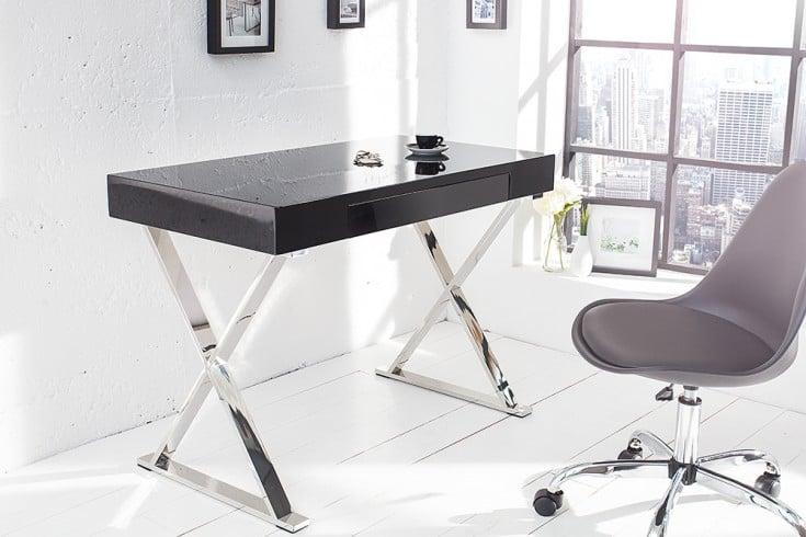 Design Schreibtisch GRACE Hochglanz schwarz mit Schublade
