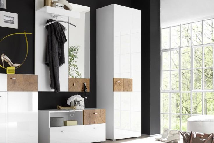 Moderner Garderobenschrank MODERN NATURE 200cm Hochglanz weiß Stirnholz Natur-Applikationen