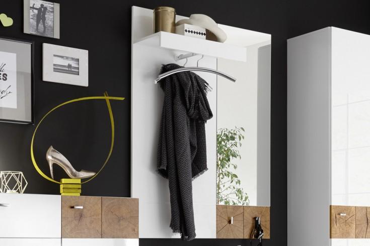 Modernes Spiegel-Paneel MODERN NATURE 95cm Hochglanz weiß Stirnholz Natur-Applikationen