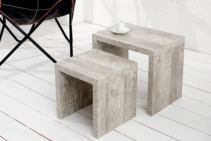 Moderner Design Beistelltisch CEMENT WOOD 2er Set Moor Eiche finish