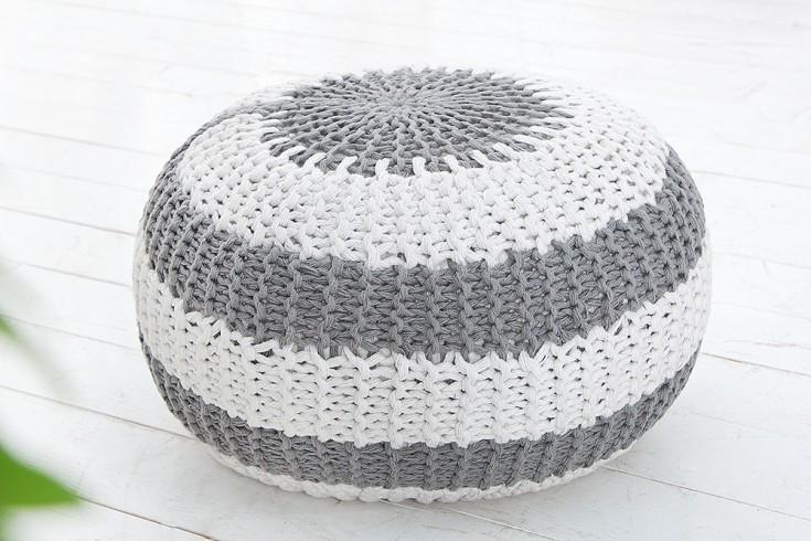 Design Strick Pouf LEEDS 50cm grau weiß Hocker Baumwolle in Handarbeit Sitzkissen  Two-Tone