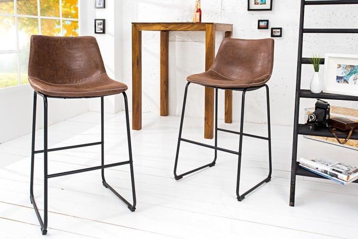 Design Barstuhl DJANGO vintage braun mit Eisengestell