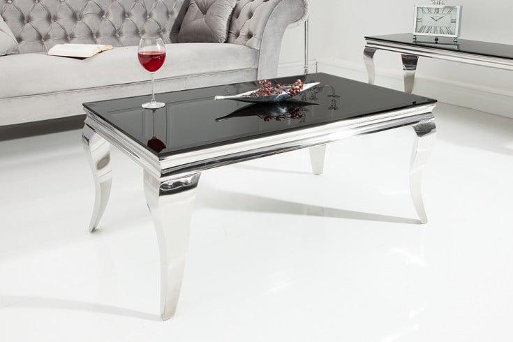 Eleganter Couchtisch MODERN BAROCK 100cm silber mit schwarzem Opalglas