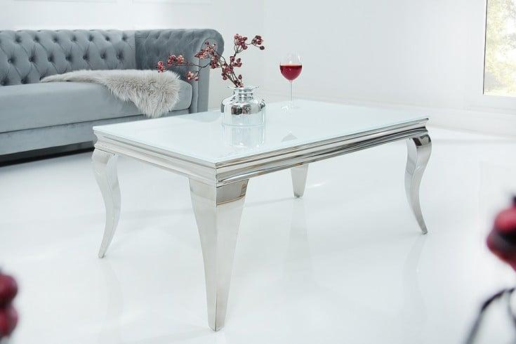 Eleganter Couchtisch MODERN BAROCK 100cm silber mit weißem Opalglas