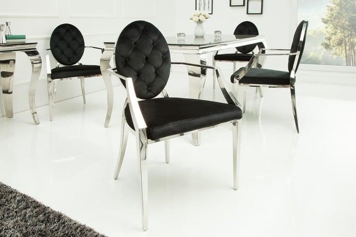 Eleganter Stuhl MODERN BAROCK schwarz Samt mit Armlehnen und Zierknöpfen