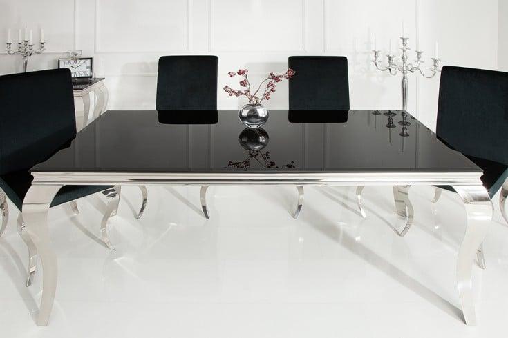 Eleganter Design Esstisch MODERN BAROCK 200cm schwarz Edelstahl Opalglas Tischplatte