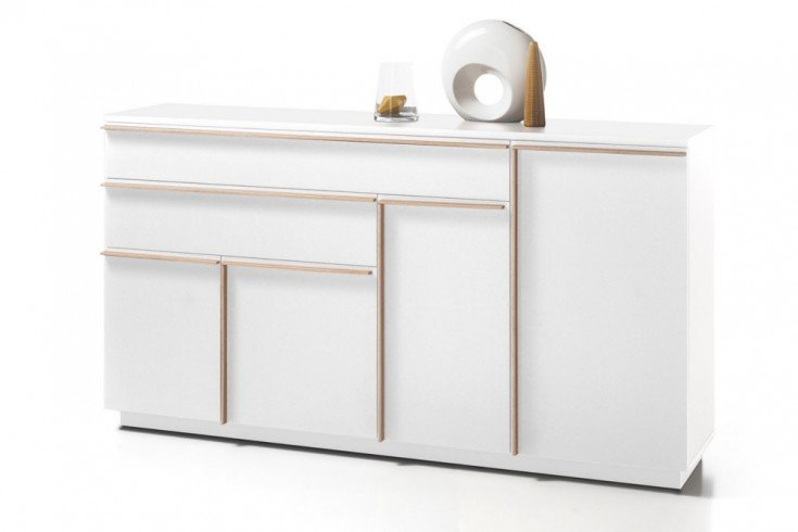 Modernes Design Sideboard MIKADO 180cm weiß edelmatt abgesetzte Griffleisten in Eiche Sonoma