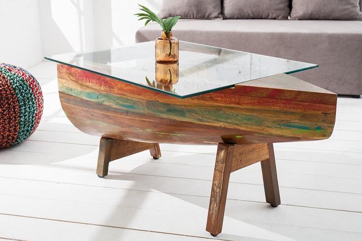 Couchtisch Boot BORNEO mit Glasplatte Tisch aus recycelten Fischerbooten