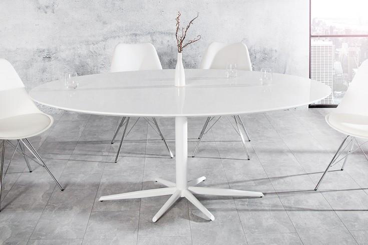 Stylischer Esstisch SIGNUM weiß Hochglanz 170cm Säulentisch oval