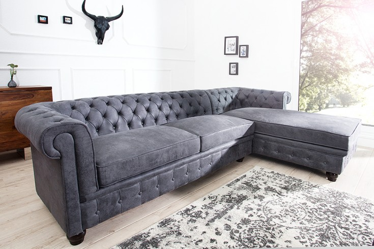 edles chesterfield ecksofa grau im antik look ottomane rechts eckcouch riess. Black Bedroom Furniture Sets. Home Design Ideas