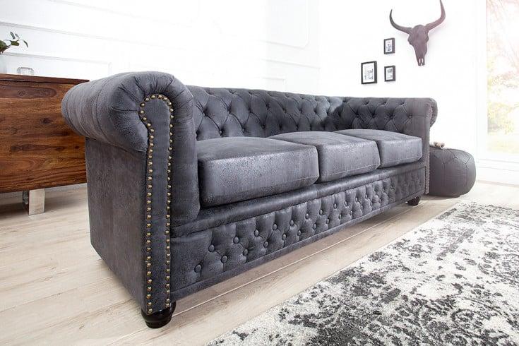 Edles Chesterfield 3er Sofa Grau im Antik Look Knopfheftung und Nietenbesatz