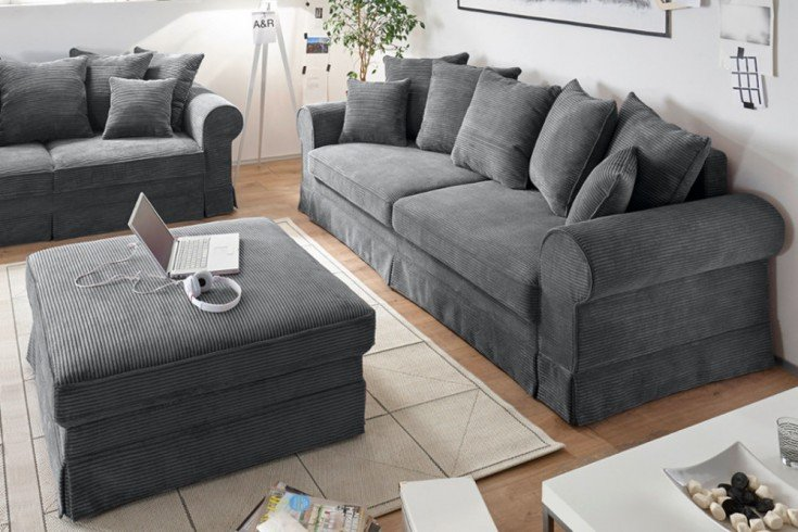 Design Schlafsofa MELBOURNE anthrazit mit Bettkasten Cord Sofa