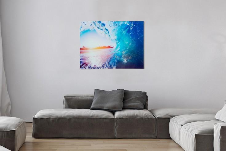 Eindrucksvolles Bild WAVE 60x80cm Glas Wandbild Welle Kunstdruck