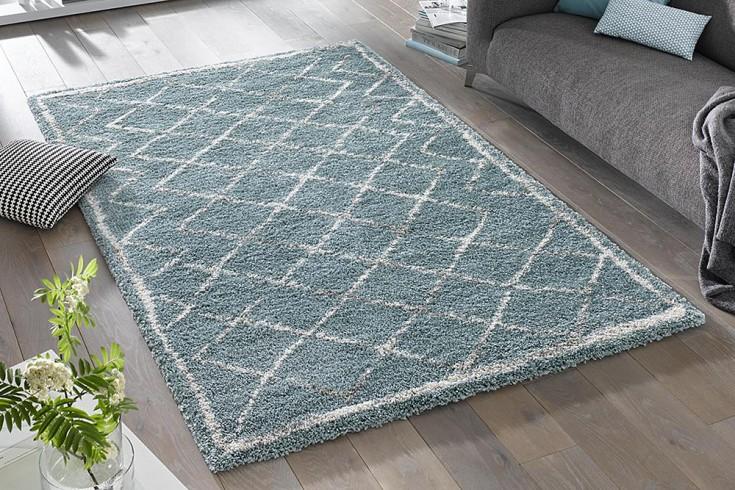Eleganter Design Hochflor Teppich FEEL 160 x 230 cm blau creme