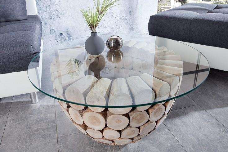 Exklusiver Teak Holz Couchtisch PURE NATURE 80cm rund mit Glasplatte