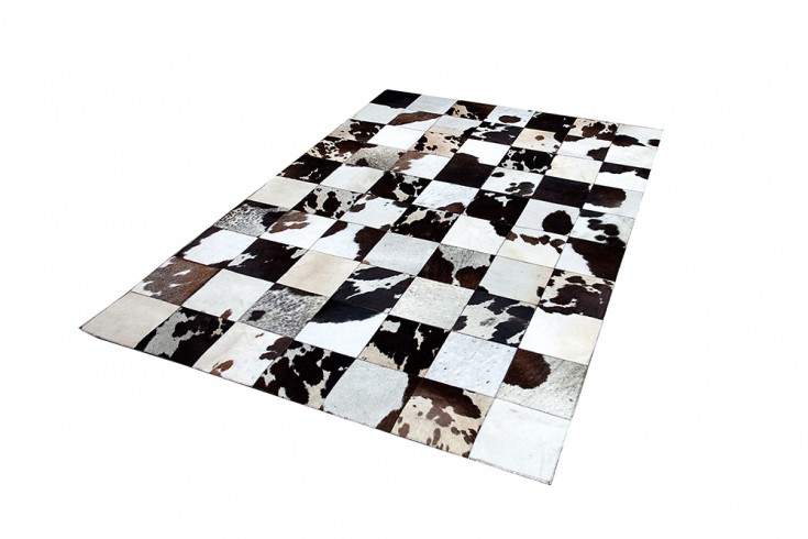 Design Kuhfell Teppich RODEO COLLECTION Patchwork 195cm braun weiß