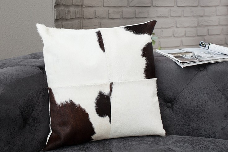 Kultiges Kuhfell Patchwork Kissen RODEO COLLECTION 45x45cm braun weiß