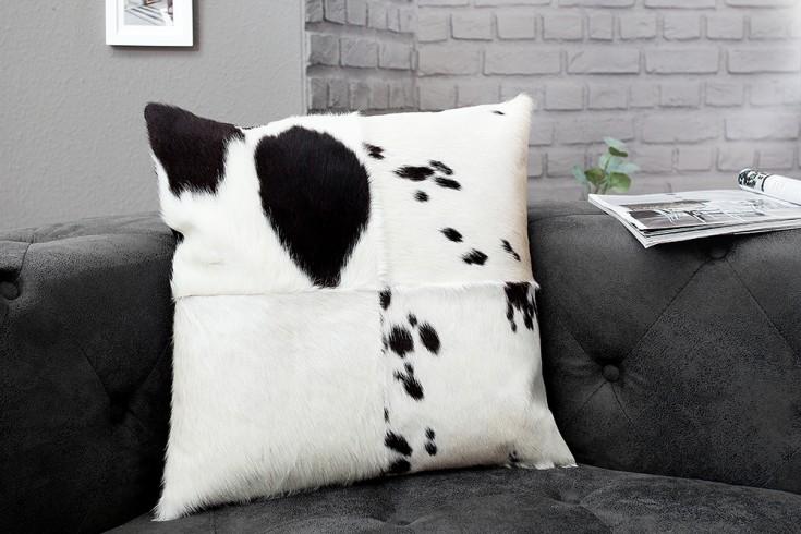 Kultiges Kuhfell Patchwork Kissen RODEO COLLECTION 45x45cm schwarz weiß