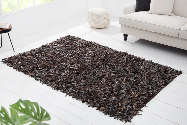 Exklusiver Design Vintage Teppich WILD WEST 140x200cm Echt Leder Shaggy braun
