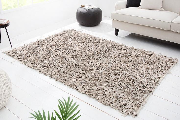 Exklusiver Design Vintage Teppich WILD WEST 140x200cm Echt Leder Shaggy weiß natur